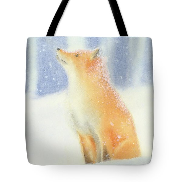 Tote Bag featuring the painting Fox In The Snow by Taylan Apukovska