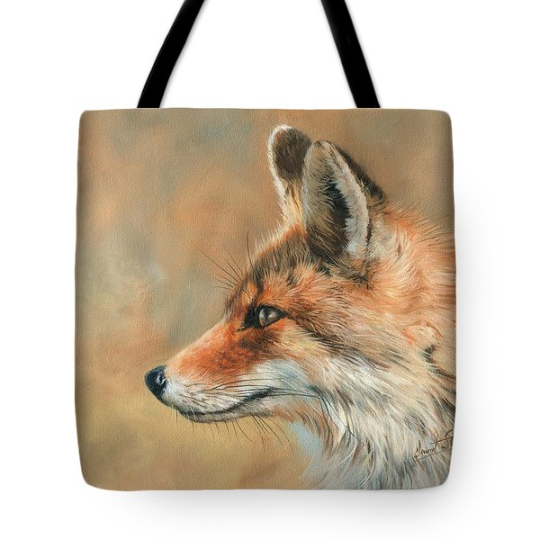 Tote Bag featuring the painting Fox Portrait by David Stribbling