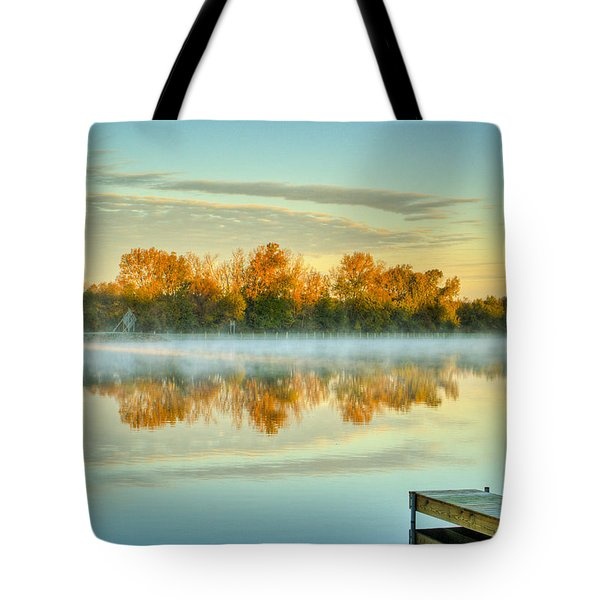 Fox River Above Mchenry Dam At Sunrise Tote Bag