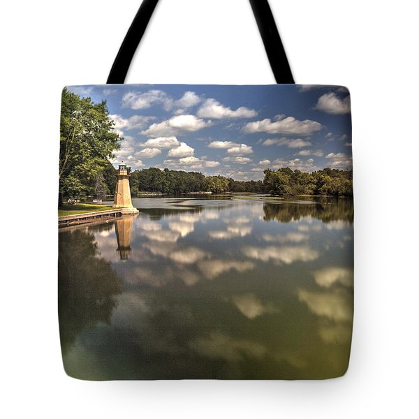 Fox River Lighthouse Geneva Illinois Tote Bag