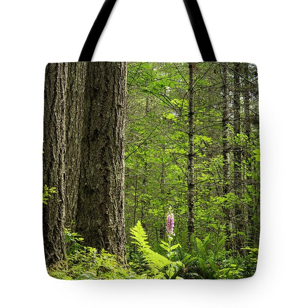 Tote Bag featuring the photograph Foxglove In The Woods by Jean Noren