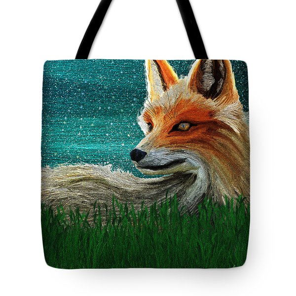 Tote Bag featuring the digital art Foxxy by Iowan Stone-Flowers