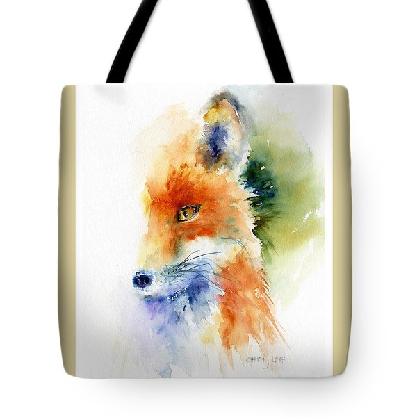 Foxy Impression Tote Bag by Christy Lemp