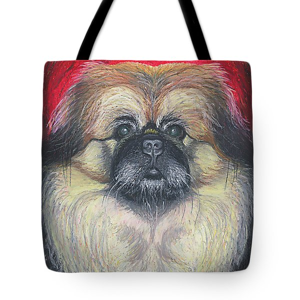 Tote Bag featuring the pastel Fozy Bear Pekingese by Ania M Milo