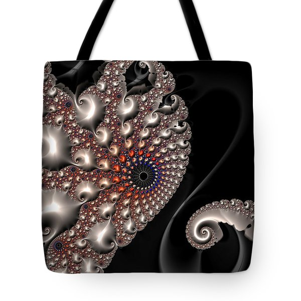 Tote Bag featuring the digital art Fractal Contact - Silver Copper Black by Matthias Hauser