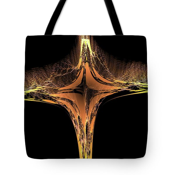 Tote Bag featuring the digital art Fractal Cross Golden And Yellow by Matthias Hauser