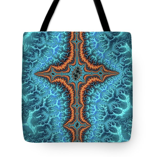 Tote Bag featuring the digital art Fractal Cross Turquoise And Orange by Matthias Hauser