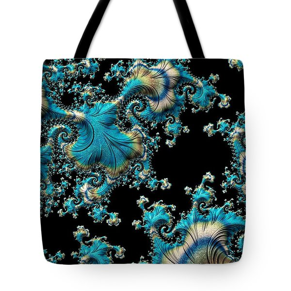 Fractal Filigree Blue Tote Bag