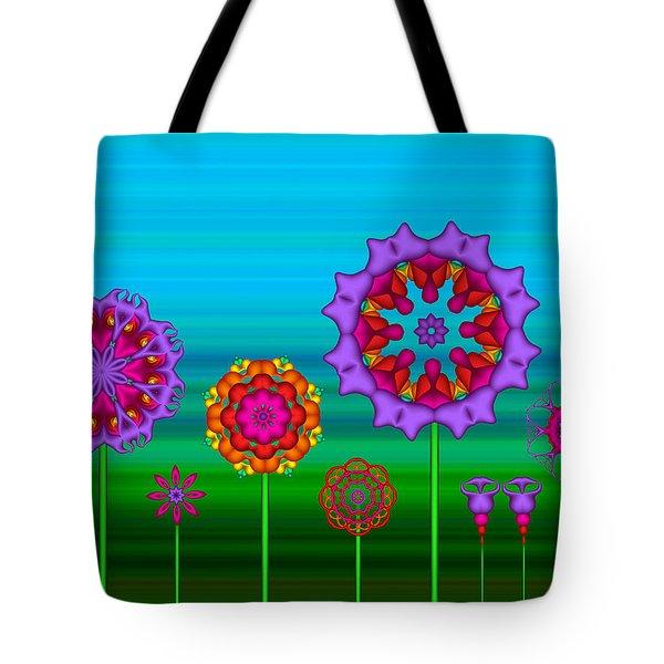 Whimsical Fractal Flower Garden Tote Bag