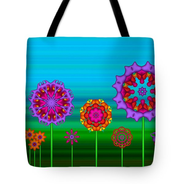 Whimsical Fractal Flower Garden Tote Bag