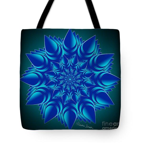 Fractal Flower In Blue Tote Bag