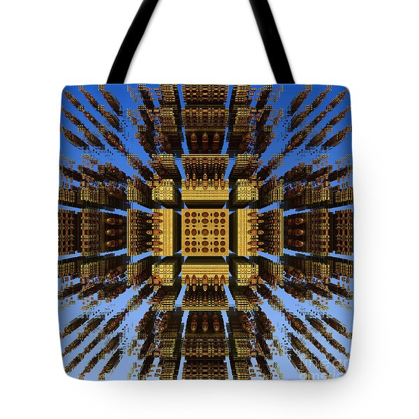 Tote Bag featuring the digital art Fractal Fragments Of A Golden Box by Richard Ortolano