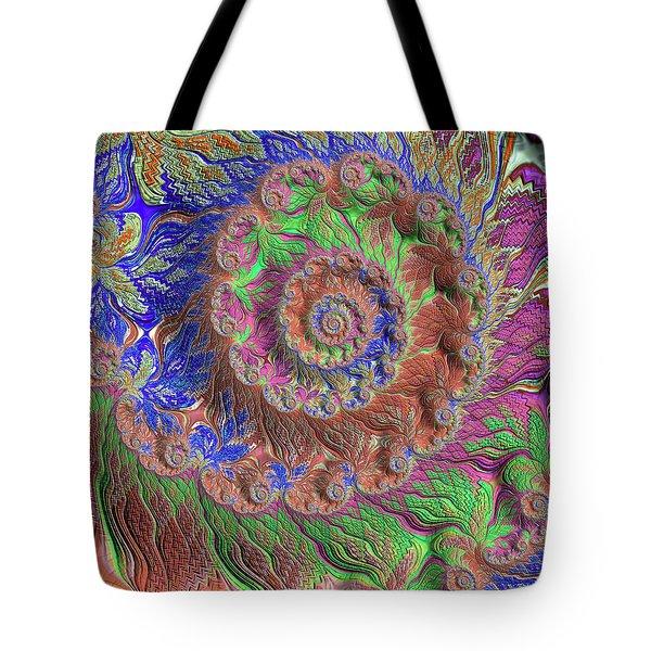 Tote Bag featuring the digital art Fractal Garden by Bonnie Bruno