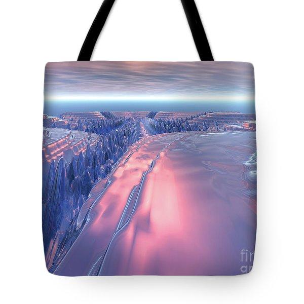 Fractal Glacier Landscape Tote Bag