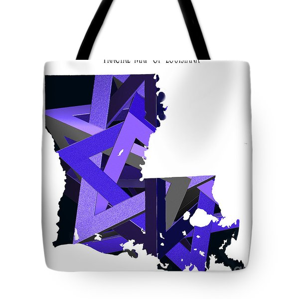 Tote Bag featuring the digital art Fractal  Map Of Louisiana by Melissa Messick