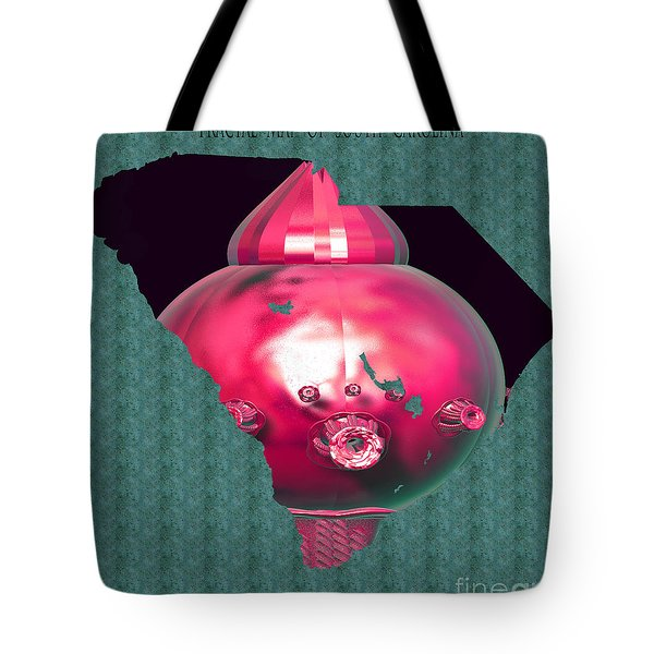 Tote Bag featuring the digital art Fractal Map Of South Carolina by Melissa Messick
