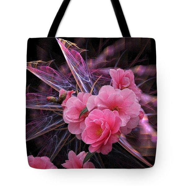 Fractal Meets Camellia  Tote Bag