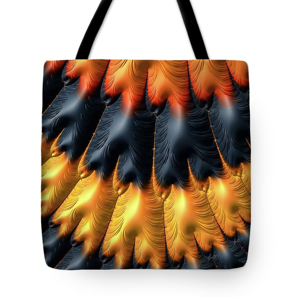 Tote Bag featuring the digital art Fractal Pattern Orange And Black by Matthias Hauser