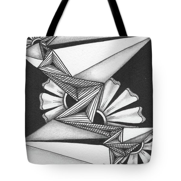 Tote Bag featuring the drawing Fractured by Jan Steinle