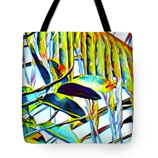 Fragment Of Palm In Blue Tote Bag