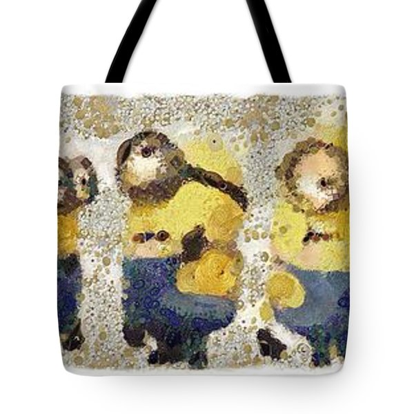 Fragmented And Still In Awe Congratulations Minions Tote Bag by Catherine Lott