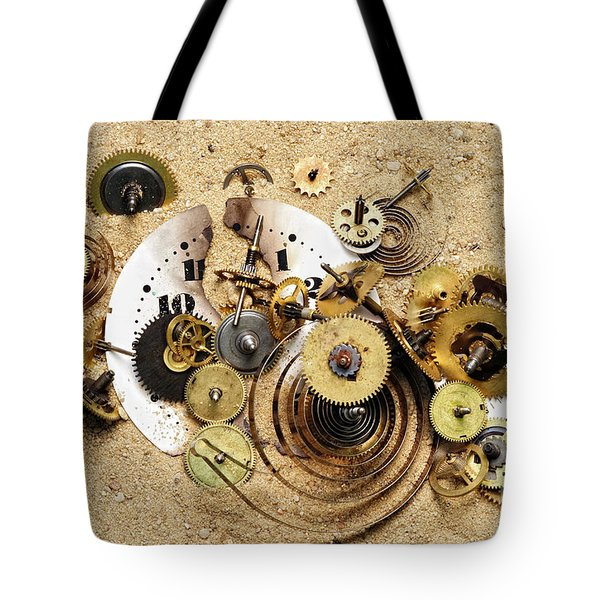 Fragmented Clockwork In The Sand Tote Bag by Michal Boubin
