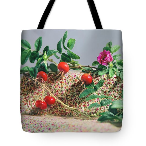 Tote Bag featuring the photograph Fragrant Rugosa Rose With Rosehips And Leaves by Nancy Lee Moran