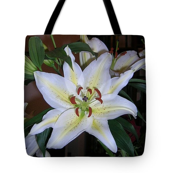 Fragrant White Lily Tote Bag by Valerie Ornstein