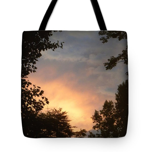 Tote Bag featuring the photograph Framed Fire In The Sky by Sandi OReilly