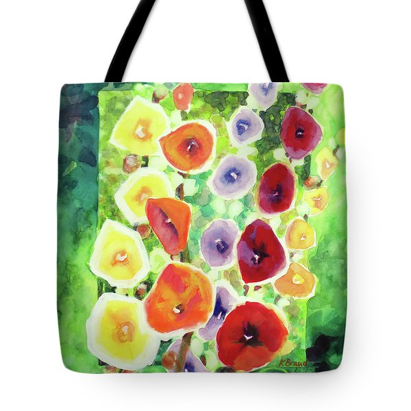 Tote Bag featuring the painting Framed In Hollyhocks by Kathy Braud