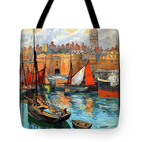 France Saint Malo Restored Vintage Travel Poster Tote Bag by Carsten Reisinger