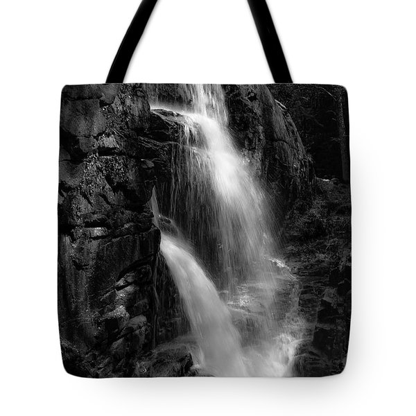 Franconia Notch Waterfall Tote Bag by Jason Moynihan