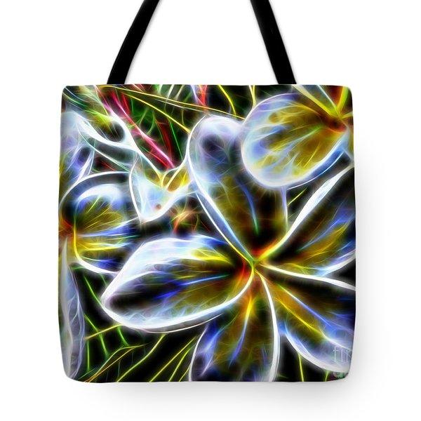 Frangipani Fractal Tote Bag