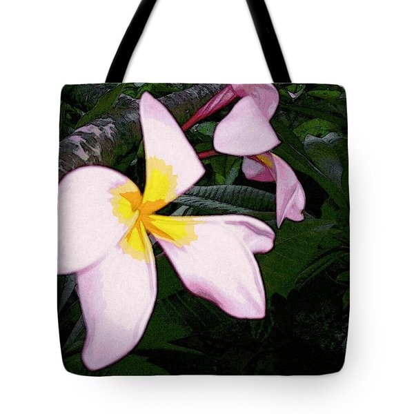 Tote Bag featuring the digital art Frangipani Moment by Winsome Gunning