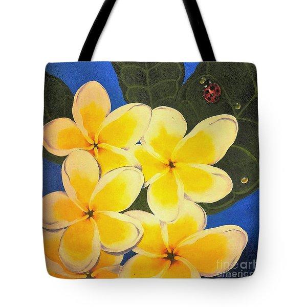 Frangipani With Lady Bug Tote Bag