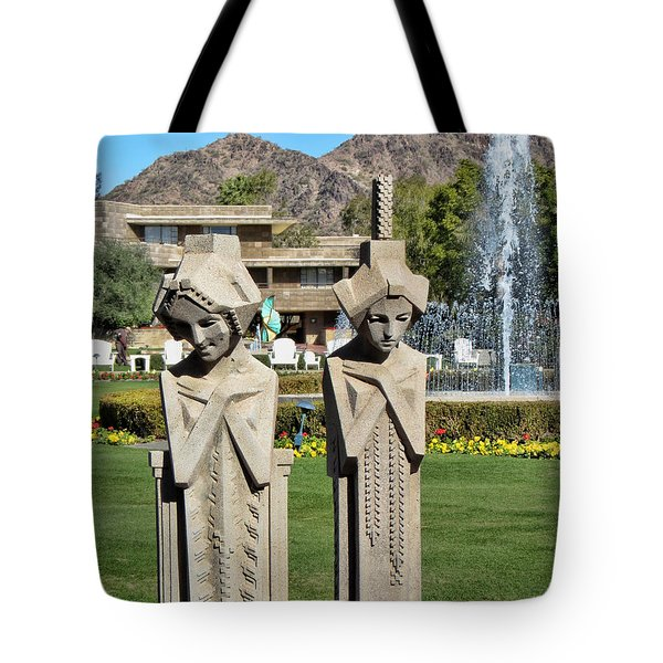 Frank Lloyd Wright Maidens At The Biltmore Tote Bag by Diane Wood