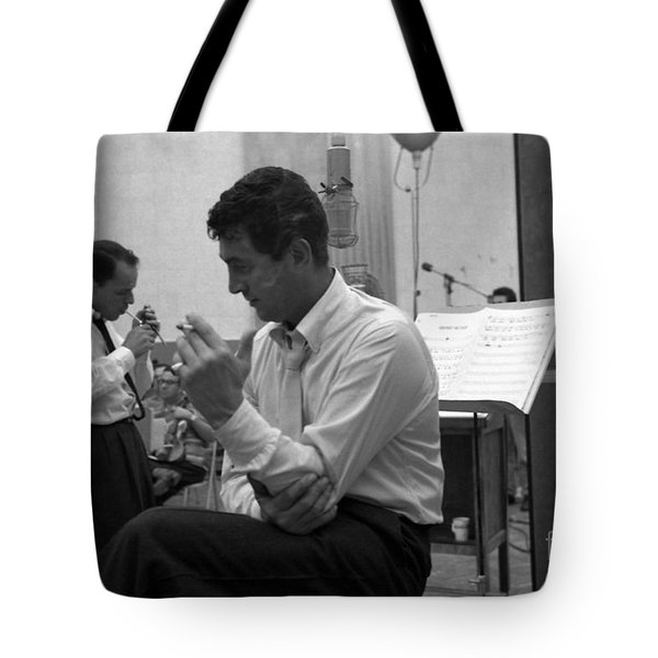 Frank Sinatra And Dean Martin At Capitol Records Studios Tote Bag by The Titanic Project