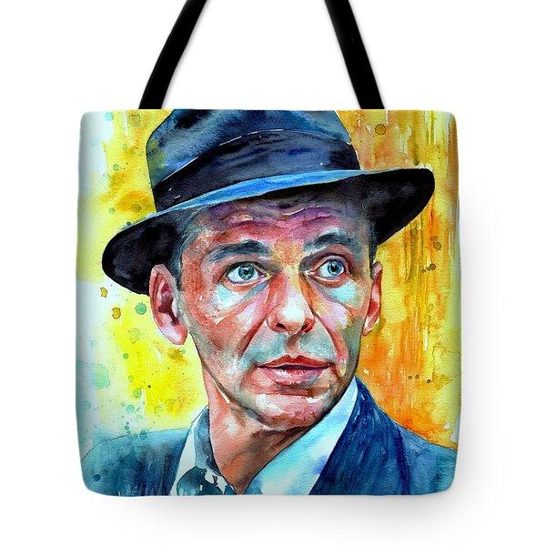 Frank Sinatra In Blue Fedora Tote Bag