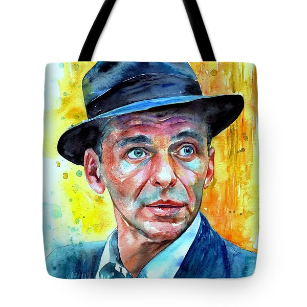 Frank Sinatra In Blue Fedora Tote Bag