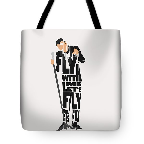 Tote Bag featuring the painting Frank Sinatra Typography Art by Inspirowl Design