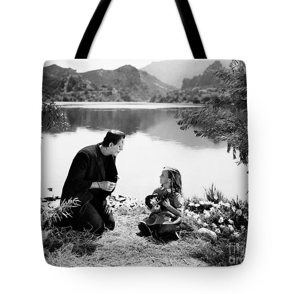 Frankenstein By The Lake With Little Girl Boris Karloff Tote Bag