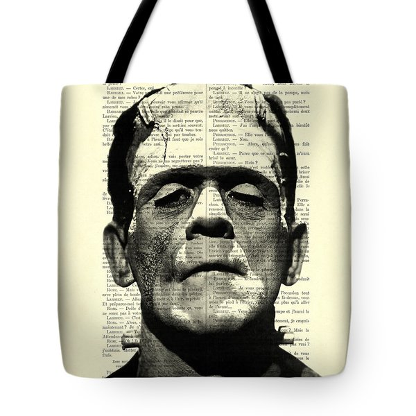 Frankenstein On Dictionary Page Tote Bag