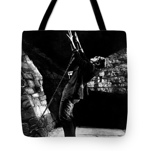 Frankensteins Monster Chained The Castle Played By Boris Karloff Tote Bag