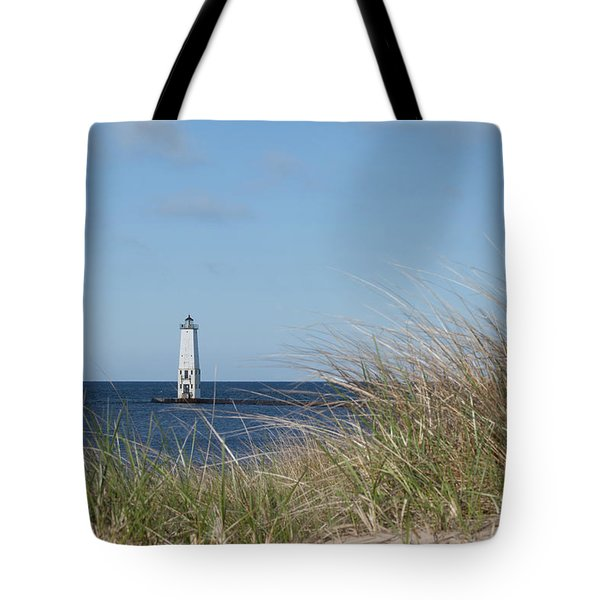 Tote Bag featuring the photograph Frankfort North Breakwater Lighthouse by Fran Riley
