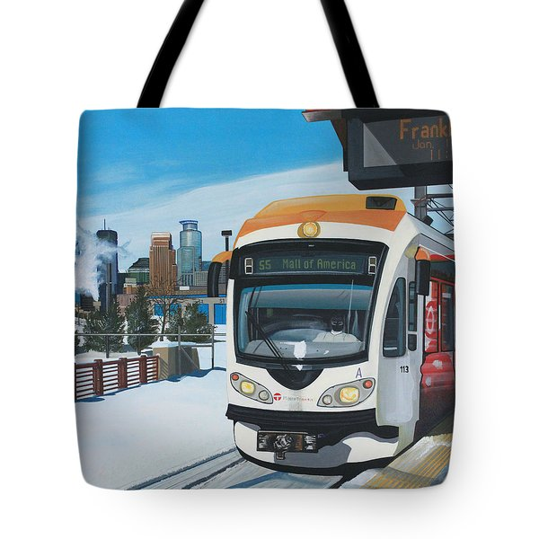 Tote Bag featuring the painting Franklin Avenue Station by Jude Labuszewski