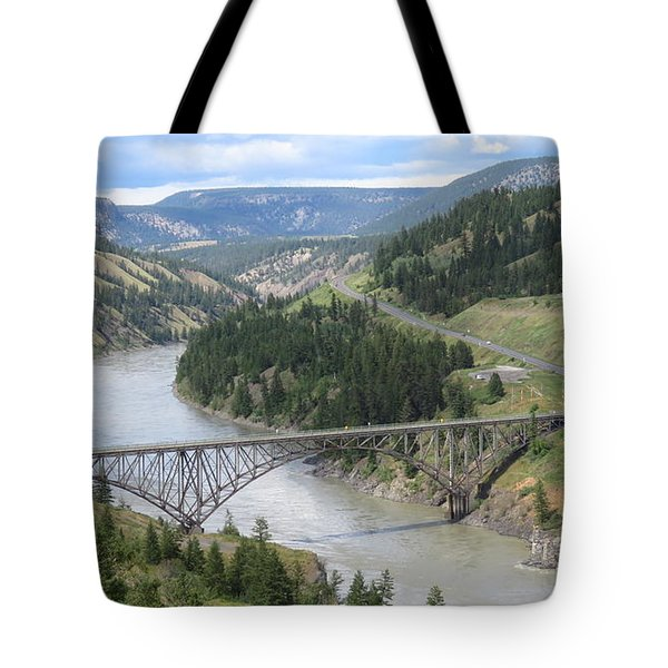 Fraser River Bridge Near Williams Lake Tote Bag