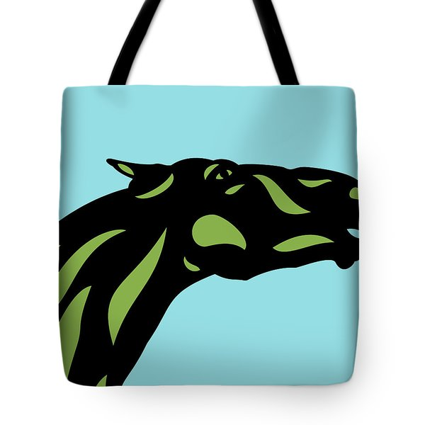 Fred - Pop Art Horse - Black, Greenery, Island Paradise Blue Tote Bag