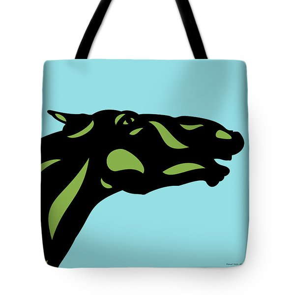 Fred - Pop Art Horse - Black, Greenery, Island Paradise Blue Tote Bag by Manuel Sueess