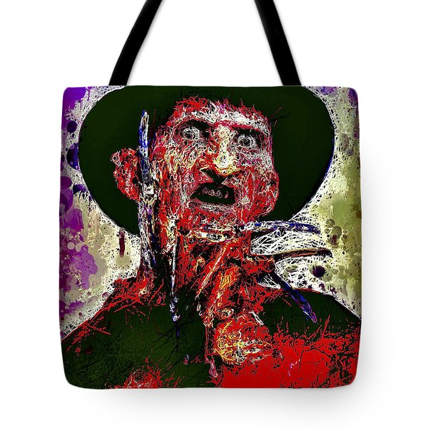 Tote Bag featuring the mixed media Freddy Krueger by Al Matra