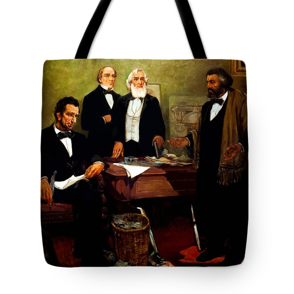 Frederick Douglass Appealing To President Lincoln Tote Bag